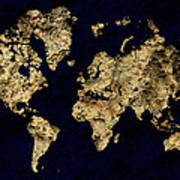 World Map Rock Art Print