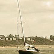 Yacht Entering Christchurch Harbour Art Print