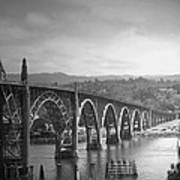Yaquina Bay Bridge Oregon B And W Art Print