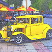 Yellow 1930's Ford Roadster Art Print