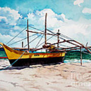 Yellow Boat Docking On The Shore Art Print