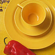 Yellow Cup And Plate Art Print by Garry Gay