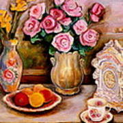 Yellow Daffodils Red Roses  Peaches And Oranges With Tea Cup  Art Print