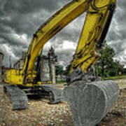 Yellow Excavator Art Print