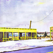 Yellow Farm Stand Winter Orient Harbor Ny Art Print by Susan Herbst