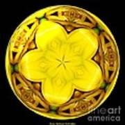 Yellow Lily Kaleidoscope Under Glass Art Print