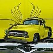 Yellow Truck In Truck Grill Art Print