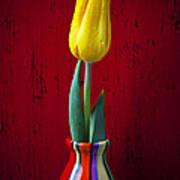 Yellow Tulip In Colorfdul Vase Art Print by Garry Gay