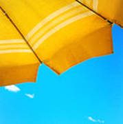 Yellow Umbrella With Sea And Sailboat Art Print