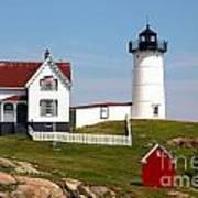 York Harbor  Nubble Lighthouse Art Print