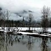 Yosemite River View In Snowy Winter Art Print