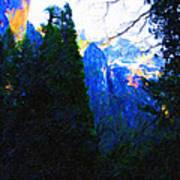 Yosemite Snow Mountain Tops . Vertical Cut Art Print