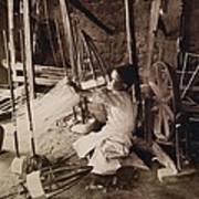 Young Boy Unwinding Silk Cocoons Art Print by Everett