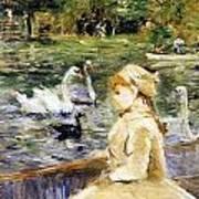 Young Girl Boating Art Print by Berthe Morisot