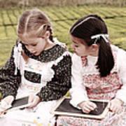 Young Girls Doodling Art Print