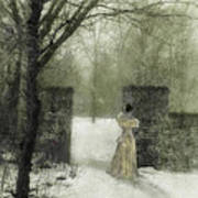 Young Lady By Stone Pillar In Snow Art Print