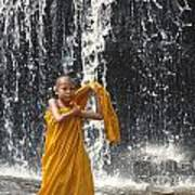 Young Monk In Front Of Waterfall Art Print