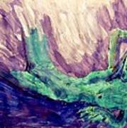 Young Statue Of Liberty Falling From Grace Female Figure Portrait Painting In Green Purple Blue Art Print