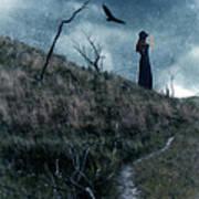 Young Woman On Creepy Path With Black Birds Overhead Art Print