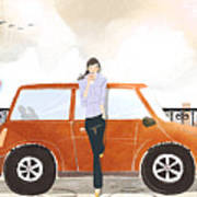 Young Woman Standing In Front Of Car Drinking Takeaway Coffee Art Print by Eastnine Inc.