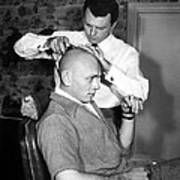 Yul Brynner Getting Shaved By Makeup Art Print