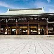 Zen Temple Under Blue Sky  Art Print