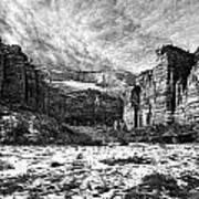 Zion Canyon - Bw Art Print