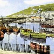 1900 Harbour View Mousehole Cornwall England Art Print