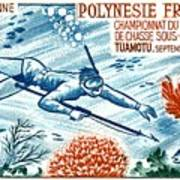 1965 French Polynesia Spearfishing Postage Stamp Art Print
