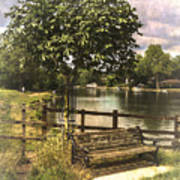 A Seat By The Thames Art Print