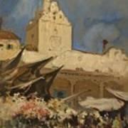 A Venetian Flower Market Art Print