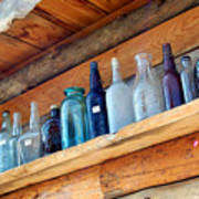 Antique Bottles Blues Art Print