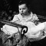 Baby In Chair 1910s Black White Archive Boy Kids Art Print