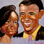 Barak And Michelle Obama   The Power Of Love Art Print