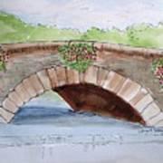 Baskets Of Flowers On Bridge To Westport Ireland Art Print