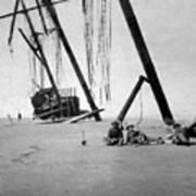 Beached Sailing Ship Circa 1900 Black White Art Print