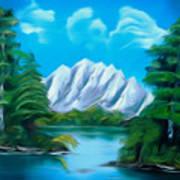 Blue Lake Mirror Reflection Dreamy Mirage Art Print