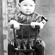 Boy Dressed Elf Sitting Backwards In Chair 1890s Art Print