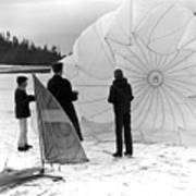 Boys Frozen Lake Parachute Sailboard Circa 1960 Art Print