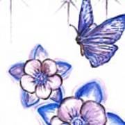 Butterfly Amongst The Flowers Art Print