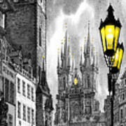 Bw Prague Old Town Squere Art Print