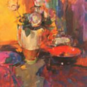 Clarice Cliff Rose Table  Art Print