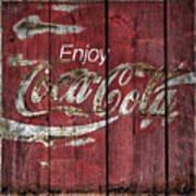 Coca Cola Sign Barn Wood Art Print