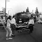 Fire Department Rescue Circa 1960 Black White Art Print