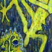 Frog Under The Rain Art Print