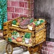 Fruit And Vegetable Stand In Nice, France Art Print