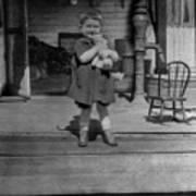 Girl Hugging Stuffed Animal Porch 1920s Black Art Print