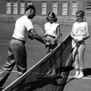 Girls Getting Tennis Lesson Circa 1960 Black Art Print