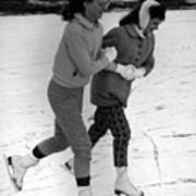 Girls Ice Skating Circa 1960 Black White 1950s Art Print