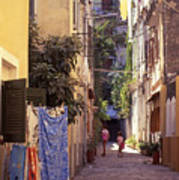 Greece. Venetian Street In Corfu Old Town. Art Print
